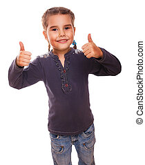 baby girl teenager raised her thumbs up isolated smiling symbol