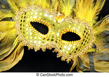 Mardi Gras Mask - A gold Mardi Gras mask with gold and black...