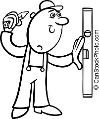 worker with level coloring page - Black and White Cartoon...