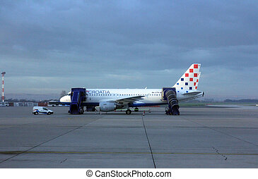 Croatia Aerlines A319 serviced by the ground crew in Zagreb,...