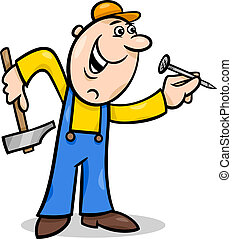 worker with nail cartoon illustration - Cartoon Illustration...