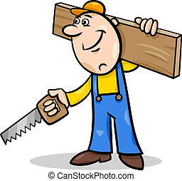 worker with saw cartoon illustration - Cartoon Illustration...