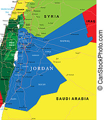 Jordan map - Highly detailed vector map of Jordan with...