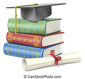 Education - Pile of books, student hat and a diploma