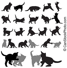 Kitten silhouettes - Vector set of kitten silhouettes