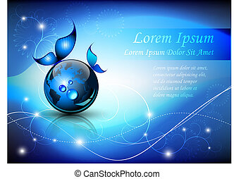 Blue abstract fantasy - Full editable vector illustration