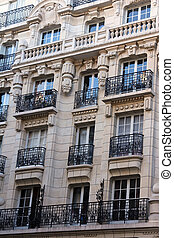 Apartment building in Paris, France - Facade of a...