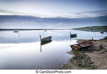 Boats on the Fleet at Dusk - Boats on the Fleet Laggon at...