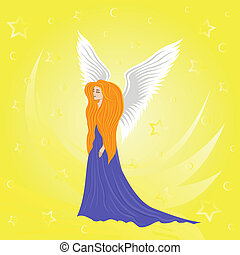 Woman angel on abstract yellow background. Hand drawing...