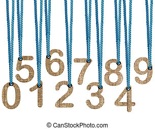 Letters hanging strings isolated on white background with...