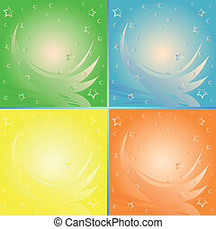Four abstract backgrounds in different colors