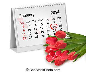 Calendar with hand written red heart February 14 of Saint...