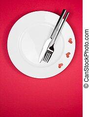 restaurant series, valentine day dinner on red background
