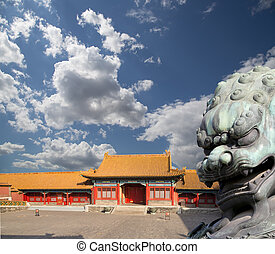 Bronze Guardian Lion Statue in the Forbidden City, Beijing,...