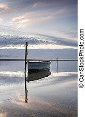 Boat on the Fleet at Dusk - Boat on the Fleet Lagoon at...