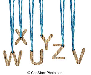 Letters hanging strings isolated on white background . (with...