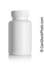Blank medicine bottle isolated on white background,...