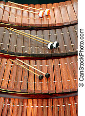 instrumento, xilofone, tailandia,  musical