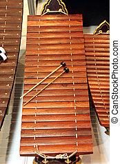 xilofone, musical, instrumento, tailandia