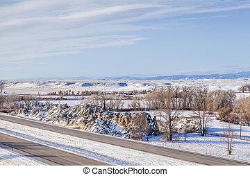 Colorado freeway at winter