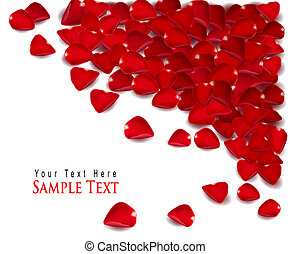 Background of red rose petals. Vector