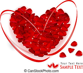 Valentine`s day background. Red heart made of rose petals...