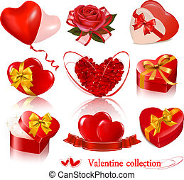 Set of Valentine's day elements. Vector illustration.