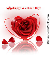 Valentine`s day background. Red rose with gift red ribbons. Vector illustration
