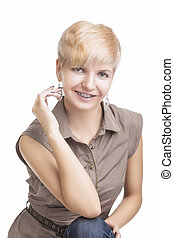 Portrait of Young Caucasian Woman Wearing Orthodontic...