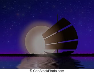 Ship Sailing at Sea with Moonlight