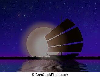 Ship Sailing at Sea with Moonlight