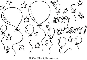Balloon Party Doodle Illustration Vector Set