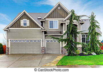 Pretty siding house with columns stoned at base - Beautiful...
