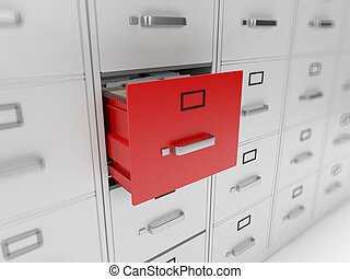 Filing cabinet - 3d rendered illustration of a filing...
