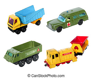 Old cars toy set on white background
