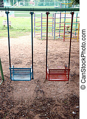 Swings in the playground.