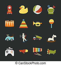 Toy icons , flat design , eps10 vector format