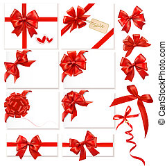 Collection of red bows with ribbons. Vector.