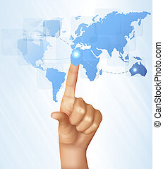 Finger touching world map on a touch screen. Vector.