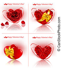 Set of Valentine`s day banners. Red hearts made of rose petals with gift red ribbons. Vector illustration