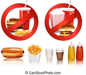 Two Fast food danger labels and group of fast food products.. Vector illustration.