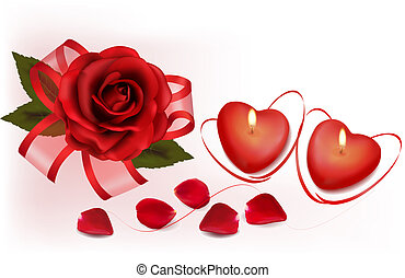 Valentine`s day background. Red roses and two heart candles....