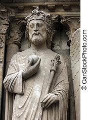 Emperor Constantine, Notre Dame Cathedral, Paris, Portal of...