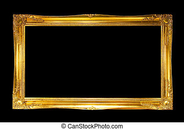 Panoramic frame in gold isolated included clipping path
