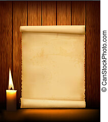 Background with old paper and candle. Vector illustration.