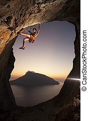 Rock climber at sunset Kalymnos Island, Greece - Rock...