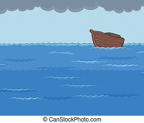 Ark in the Rainy Sea - ark in the middle of rainy sea with...