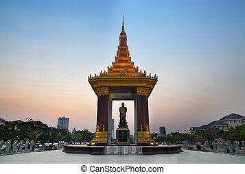 estatua, rey, Norodom, Sihanouk, Phnom, penh, viaje,...