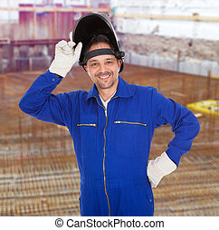 Portrait of confident welder in the mask - Portrait Of...