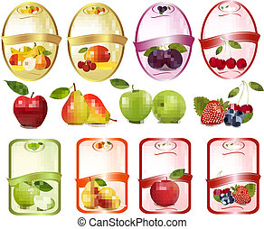 Set of labels with berries and fruit. Vector illustration.